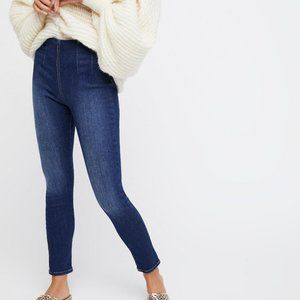 Free People Ultra High Rise Skinny Jeans in Blue